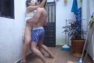 Mom And Son Fucked While Standing